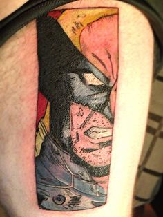My Wolverine tattoo on my upper thigh by Eddie O'Hooligan at Body Roc Ink in Victorville California..