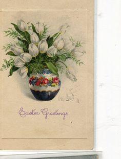 Happy Easter  Vintage Postcard Still life by sharonfostervintage, $1.50