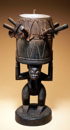 Africa | Drum (ogbin obatala) from the Ijebu-Yoruba people of Nigeria | Wood and hide