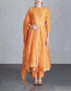 Orange Chanderi Anarkali Set Rar studio by Ritesh Aniket Rishav
