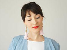 Spring Fashion Accessories Tassel Earrings Pink Statement Earrings Bohemian Earrings Bohemian Jewelry Boho-Chic Fashion Mom Gift / CHARIO