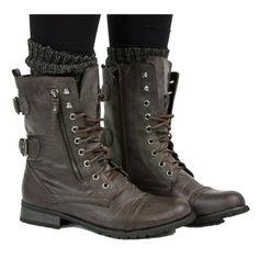 Shoefashionista - Bottes Femme Militaire Noir Vintage Chaussures Plates Bottines Lacets Marron Taille 36-41