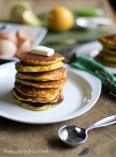 Lemon Poppy Seed Coconut Flour Pancakes (gluten free) + GIVEAWAY! | http://www.theroastedroot.net