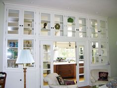 Living Room Cabinets with Glass Doors | no details or plans on the site | still love this look for my new house  *