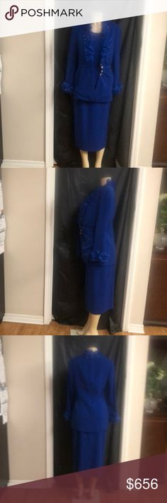 3 piece blue skirt suit. 3 piece skirt suit have lace at the bottom of the sleeve and around the neck. Jacket have 4 silver bottoms which bottoms up.. rhinestones in the lace Mariella Ferretti Other