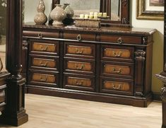 Monte Carlo Dresser by Wildon Home. $1324.04. Traditional bail handle hardware. Made of birch solids and ash veneers. Center metal glides. Burl inlays on door and drawer fronts. Dovetail drawer construction. Perfect for organized bedroom storage, this traditional style dresser offers graceful style and function to your master bedroom. The two-tone look of the medium chestnut finish with burl inlays on nine of the 12 drawer fronts creates an impressive look. Intr...