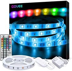LED Strip Lights, Govee 5 Metre RGB Colour Changing Lighting Strip with Remote and Control Box, Multi-Coloured Mood Lights for Home TV Kitchen DIY Decoration, Bright 5050 LEDs & Easy Installation Light Strips For Bedroom, Led Light Strips, Light Bedroom, Color Changing Rope Lights, Color Changing Led, Tira Led Rgb, Led Band, Led Rope Lights, Snare Drum