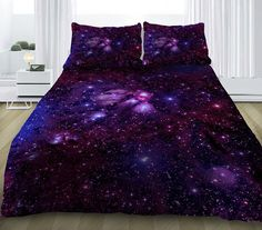 Purple galaxy bedding set comes with one duvet cover, one bed sheet and two pillowcases, comforter/quilt is not included. Clear and sharp printing,