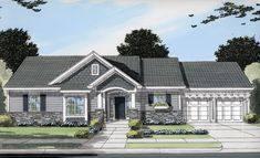 This charming three bedroom ranch style home has a wonderful exterior with stone.     House Plan # 161090.