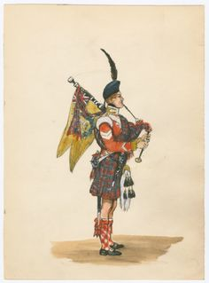 British; 72nd Highlanders, Piper, c.1850 by CCP Lawson. My Wife's Great Great Great Great Grandfather Innes's regiment.