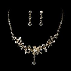Rhinestone Crystal Bridal Jewelry and Earring Set Gold Plated New