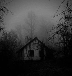 Isolated haunted house in the middle of the forest. I find the solitude of these places especially creepy. Spooky House, Creepy Houses, Witch House, Haunted Houses, Spooky Places, Haunted Places, Abandoned Houses, Abandoned Places, The Darkness
