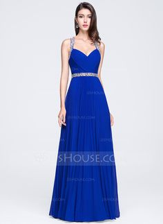 A-Line/Princess Sweetheart Floor-Length Ruffle Beading Sequins Pleated Zipper Up Regular Straps Sleeveless No Royal Blue Spring Summer Fall General Plus Chiffon Prom Dress