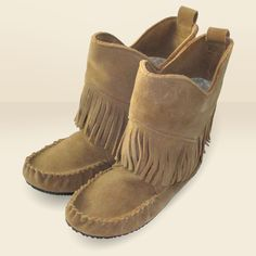 Women's Genuine Suede Okotos Fringed Moccasin Boots - 4028061