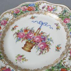 Antique DRESDEN Porcelain HP Plate FLOWER BASKET Reticulated GILT Trim C Thieme