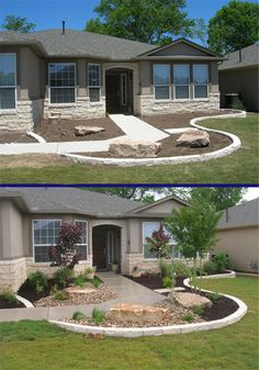 23 Best Ideas For Landscaping Front Yard Plans Driveways - front yard landscaping ideas curb appeal Small Front Yard Landscaping, Front Yard Design, Landscaping With Rocks, Outdoor Landscaping, Front Yard Patio, Front Yards, Front Yard Landscape Design, Landscaping Borders, Front Yard Decor