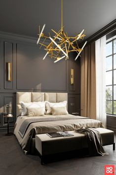 One of our newest contemporary chandelier collections introduced at Salon del Mobile. See all of our must see contemporary lighting and interior designs Modern Classic Bedroom, Modern Classic Interior, Modern Luxury Bedroom, Interior Design Minimalist, Luxurious Bedrooms, Luxury Interior, Home Interior Design, Classic Bedroom Decor, Design Interiors
