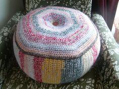 Ravelry: Sitting Bag/ Puff/ Pouf pattern by Sonea Delvon Crochet Baby Cocoon, Crochet Kids Hats, Crochet Home, Knit Crochet, Irish Crochet, Crochet Pouf Pattern, Crochet Cushions, Crochet Patterns, Crochet Ideas
