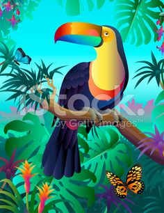 toucan in the rainforest royalty-free stock vector art