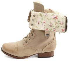 Wild Diva Lounge Madrid 10 Pink Floral Lace-Up Combat Boots ...