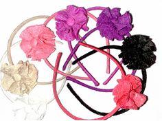 Diadema flor tela arrugada