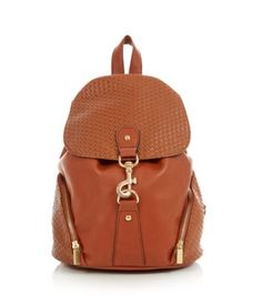 Tan Woven Panel Backpack