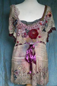 RESERVED for PATTI-- Dark Rose --  ornate  romantic tunic, robe, vest, bohemian romantic , wearable art