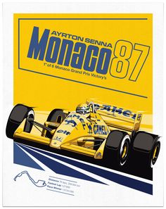 In 1987 Ayrton Senna won his first Monaco Grand Prix, whilst driving the Lotus 99T in the yellow Camel livery. This print is a visual tribute to this era and the distinctive colour combination of the Lotus. Sean Kane Design