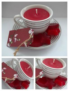 Cherry Scented Handmade Teacup Candle and wax melts