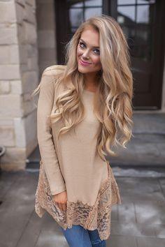 3b63968c77a4bc Tan Ribbed Lace Trim Long Sleeve - Dottie Couture Boutique