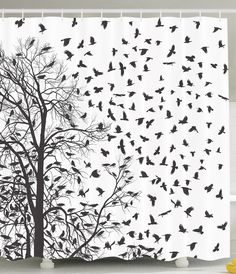 Ambesonne Black and White Tapestry, Tree Birch Branches Flying Birds Natural Life Fall Themed Silhouette Style, Wall Hanging for Bedroom Living Room Dorm Decor, X Black White Bird Shower Curtain, Tree Shower Curtains, Black And White Birds, Black Tree, Patterns In Nature, Nature Pattern, Pattern Art, Tree Tapestry, Wall Tapestries
