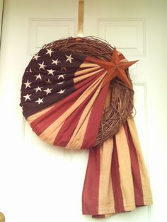 Primitive Patriotic Stained Flag Wreath by imaproudcrafter, $52.00