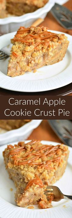 Caramel Apple Pie with Cookie Crust Caramel Apple Cookie Pie. This Caramel Apple Pie is pure heaven on a plate. The pie had a soft, sugar cookie crust, apple pie filling, sweet crumble, and layers of dulce de leche. Apple Desserts, Apple Recipes, Just Desserts, Sweet Recipes, Holiday Recipes, Delicious Desserts, Yummy Food, Easy Recipes, Caramel Apple Pie Cookies