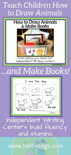 Handwriting: 10 Keys to Success All children love to DRAW ANIMALS and MAKE BOOKS using these prepared writing center templates! Comprehensive kit includes 11 step-by-step guided drawing models. Teaching guides, blank books, and sentence models e. Kindergarten Drawing, Kindergarten Literacy, Kindergarten Handwriting, Kindergarten Center Signs, Dr. Seuss, Teaching Writing, Teaching Kids, Writing Activities, Preschool Family