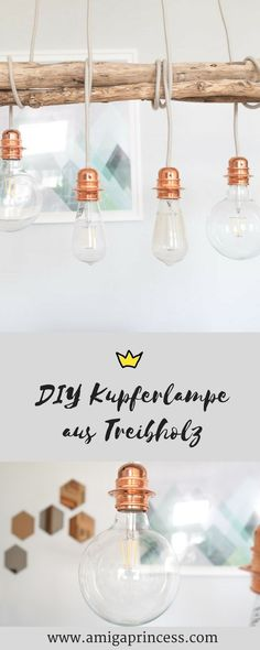 DIY: Kupfer-Lampe - diy driftwood copper lamp, step by step instructions, DIY lamp made of copper an Wooden Crafts, Wooden Diy, Copper Interior, Diy Interior, Interior Design, Diy Luminaire, Driftwood Lamp, Copper Lamps, Industrial Lamps