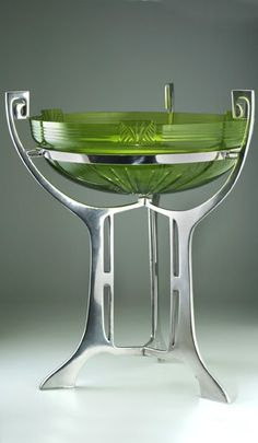 c.1906 WMF No.343a Silver Plated Fruit Stand With Green Cut Glass Liner