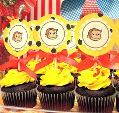 Hostess with the Mostess® - Curious George Birthday Party Curious George Cupcakes, Curious George Party, Curious George Birthday, Birthday Party Desserts, 4th Birthday Parties, Birthday Fun, Birthday Ideas, Yellow Birthday, Party Cupcakes
