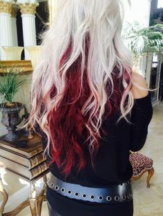 Long amazing hair with platinum blonde above and red underneath!