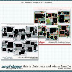 Cindy's Layered Templates - This is Winter and Christmas Bundle by Cindy Schneider Scrapbook Templates, Six Packs, Digital Scrapbooking, Create Your Own, Packing, Memories, Make It Yourself, Winter, Sweet
