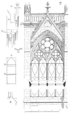 Gothic Architecture Drawing, Cathedral Architecture, Classical Architecture, Architecture Details, Sainte Chapelle Paris, Saint Chapelle, Paris Drawing, Art History, Medieval