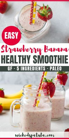 See how to make the BEST healthy strawberry banana smoothie recipe! This strawberry and banana smoothie is so delicious, you won't guess it's paleo, gluten-free, and vegan. Kiwi Smoothie, Strawberry Mango Smoothie, Strawberry Recipes, Easy Smoothies, Fruit Smoothies, Smoothie Recipes, Snacks, Wicked, Gluten Free
