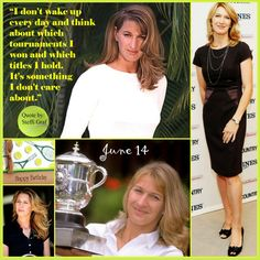 """Many happy returns of the day to the and amazing champ in the history of to you """"I don't wake up every day and think about which tournaments I won and which titles I hold. It's something I don't care about."""" Quote by Steffi Graf Sport Tennis, Play Tennis, Steffi Graf, Tennis Legends, Professional Tennis Players, Tennis Quotes, Beautiful Athletes, Tennis Elbow, Tennis Stars"""