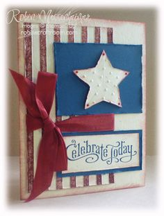 Stripes and Perfect Polka Dots embossing folders; colors are Cherry Cobbler and Midnight Muse - Robin Messenheimer - Casual Crafter Patriotic Crafts, July Crafts, Pretty Cards, Cute Cards, Diy Cards, Cricut Cards, Stampin Up Cards, Military Cards, Star Cards
