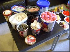 Pretend ice cream... dyed cotton balls with fabric dye.  Add about half a package of pink dye to boiled water in a mixing bowl, and add wet cotton balls, that have been rinsed in hot water.  The dye only takes a few min. to set.  Then rinse the colored cotton balls with cold water, until it runs clear. Let dry on newspaper over night and fluff when dry.
