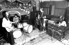 Pink Floyd rehearsal at Moulin Rouge Bar in Ainsdale, Southport, May 1971.
