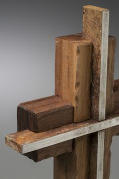 Unity Cross - Steel and Weathered Solid Black Walnut, Solid Stone Base