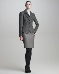 Suede-Trimmed Riding Jacket, Crisscross Satin Blouse & Wool Pencil Skirt by Armani Collezioni at Neiman Marcus.