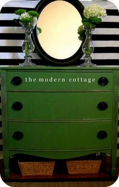 chest with original green paint....