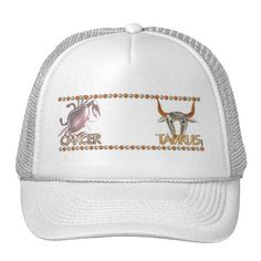 Cancer Taurus astrology friendship by Valxart Trucker Hat Valxart.com astrology art is available for everyone on hundreds of products that you can customize . See us on pinterest.com/valxart  or Contact info@valx.us for help finding or making the perfect friendship gift from Valxart