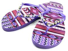 eba67874885f2 Cammie Womens Thong Sandals Patterned Beach Bead Shell Strap Purple 9   For  more information